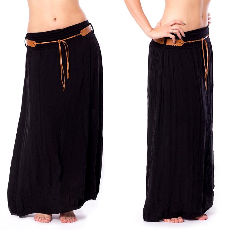 Dlouhá černá sukně s páskem