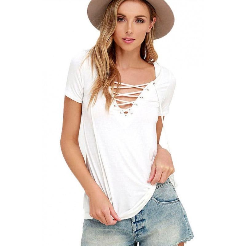 V&V Dámské tričko s výstřihem Criss Cross - bílé - S