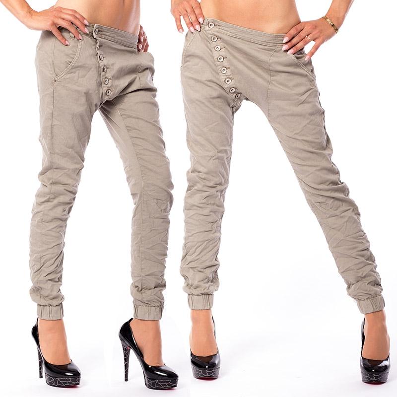 V&V Dámské krčené kalhoty Baggy Safari - M