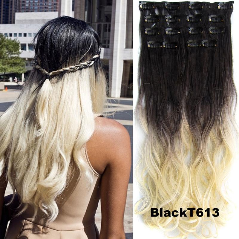 Clip in sada OMBRE vlnitá - odstín Black T 613