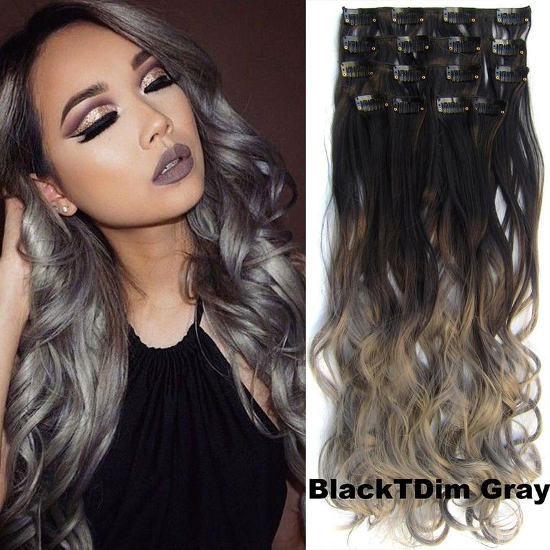 Clip in sada OMBRE vlnitá - odstín Black T Dim Gray