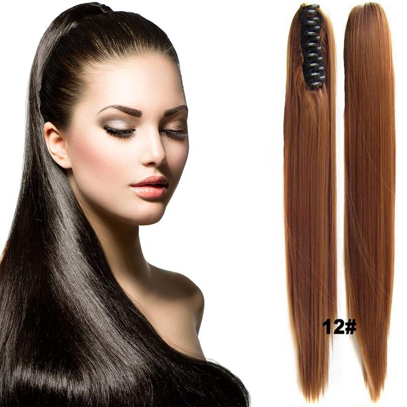 Cop - culík rovný k prodloužení vlasů 60 cm na skřipci - 12 (karamelově hnědá)