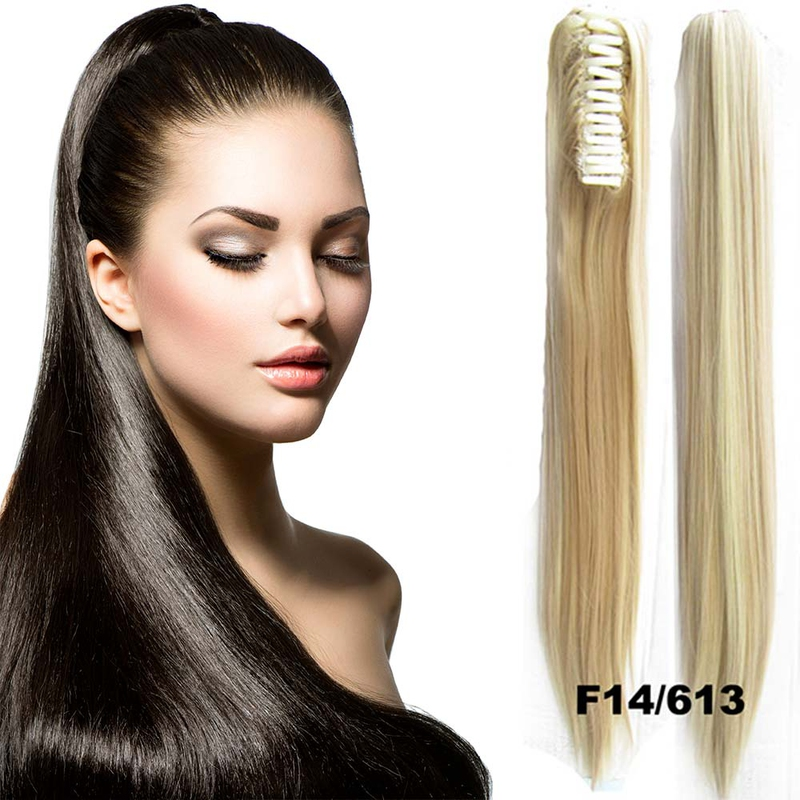 Cop - culík rovný k prodloužení vlasů 60 cm na skřipci - 14H613 (melír chladně plavé a beach blond)
