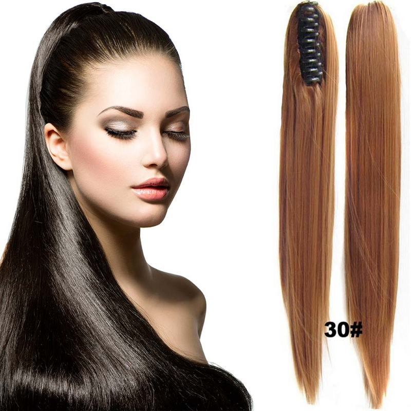 Cop - culík rovný k prodloužení vlasů 60 cm na skřipci - 30 (světlý kaštan)