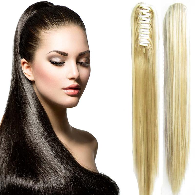 Cop - culík rovný k prodloužení vlasů 60 cm na skřipci - F24/613 (melír platinově plavé v beach blond)