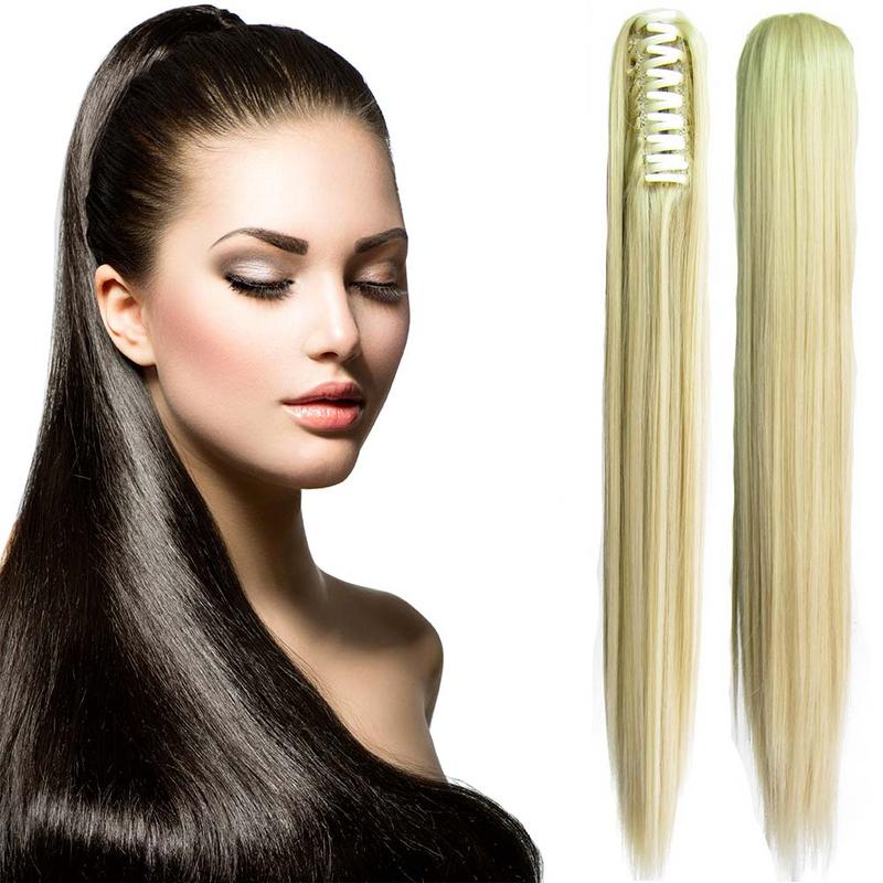 Cop - culík rovný k prodloužení vlasů 60 cm na skřipci - M24/613 (mix platinově plavá/beach blond)