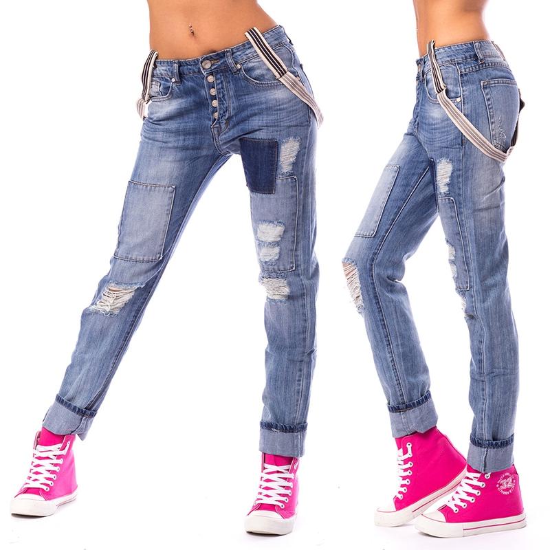Dámské trhané jeans s kšandami - velikost 38