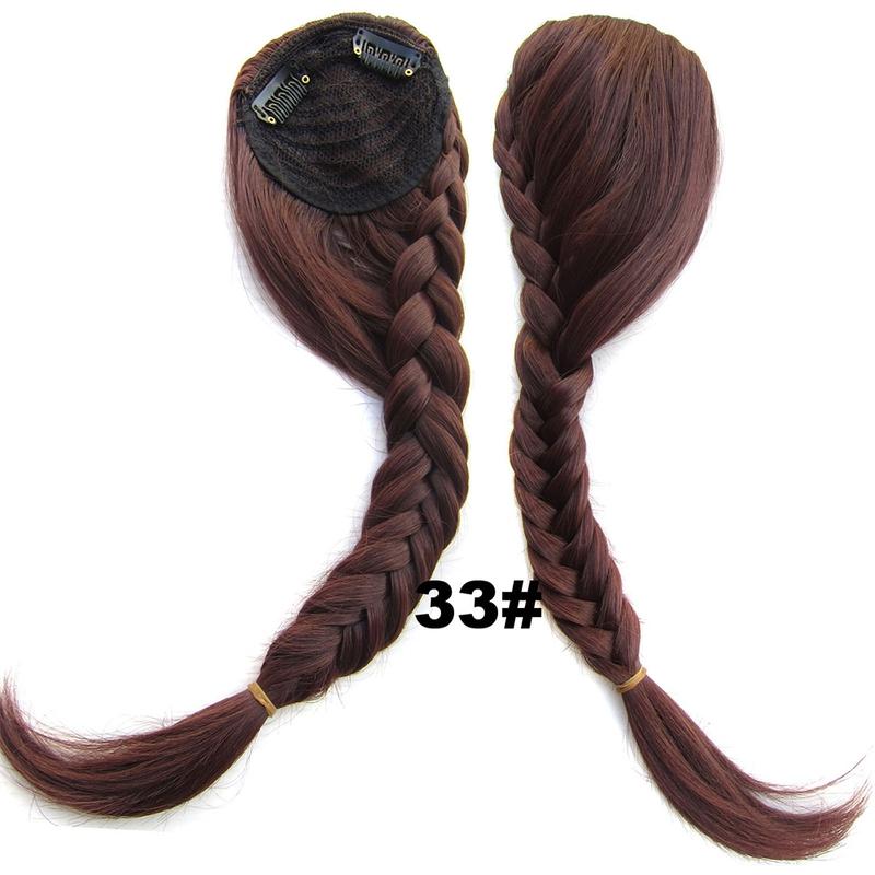 Clip in ofina s pleteným copánkem - 33 (tmavý kaštan)