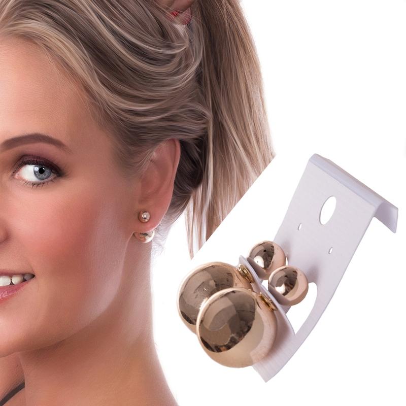 V&V Dámské náušnice koule za ucho - zlatá - 12 mm