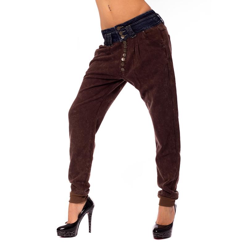 Dámské harémové kalhoty s jeans pasem - velikost 36