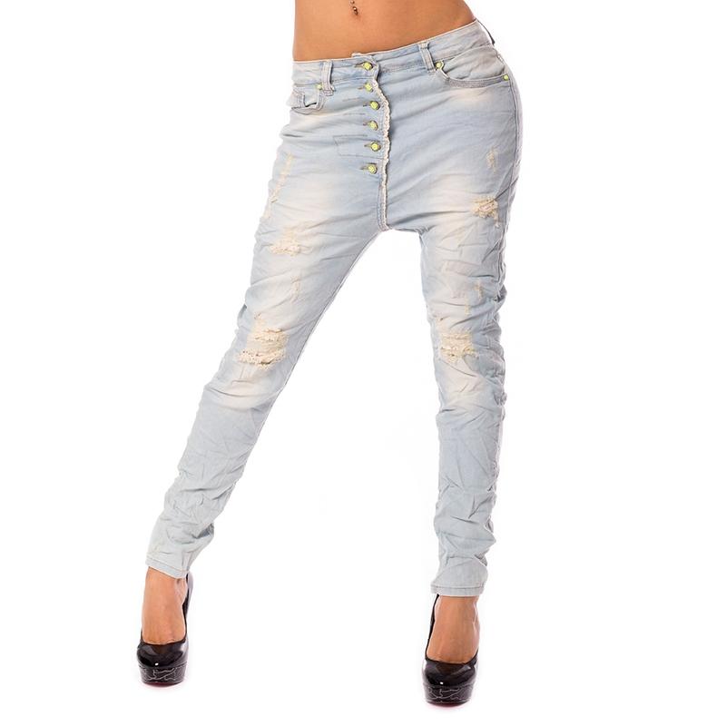 V&V Dámské světlé jeans baggy s trháním - 36
