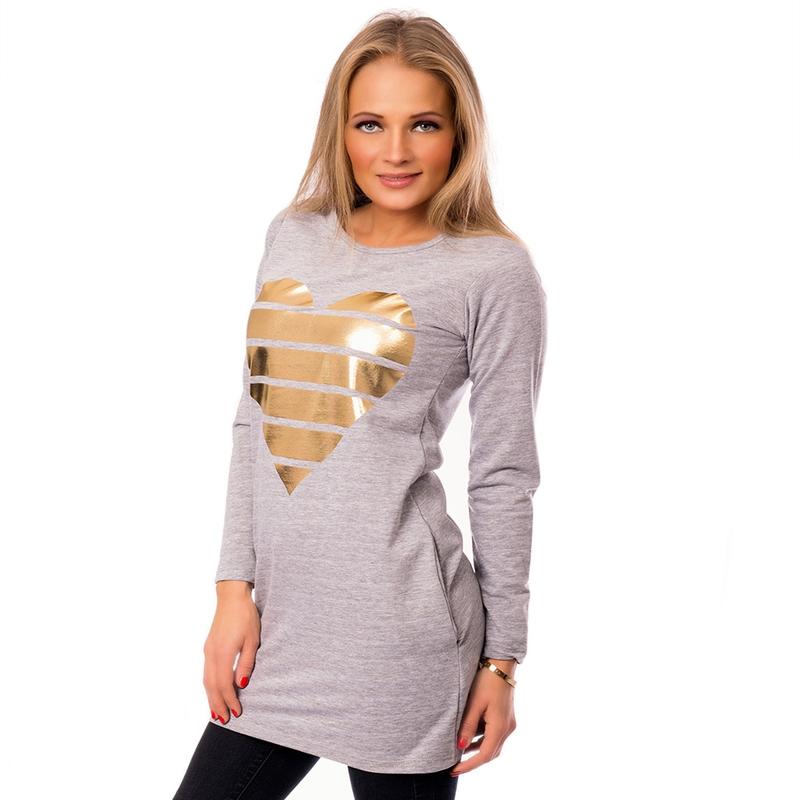 Dámská móda a doplňky - Dámská dlouhá tunika Gold heart ... 941db9e89d