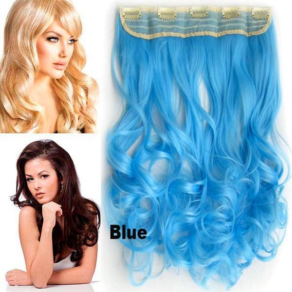 Světové zboží Clip in pás vlasů - lokny 55 cm - modrá - odstín BLUE