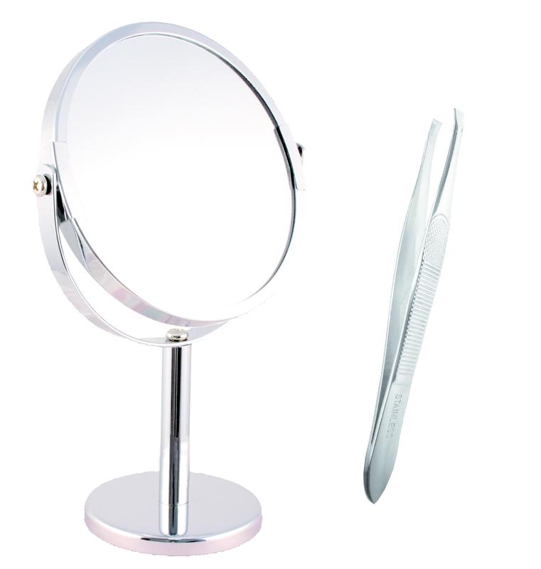 Kosmetické zrcátko nerezové - 4 x zoom - pinzeta zdarma
