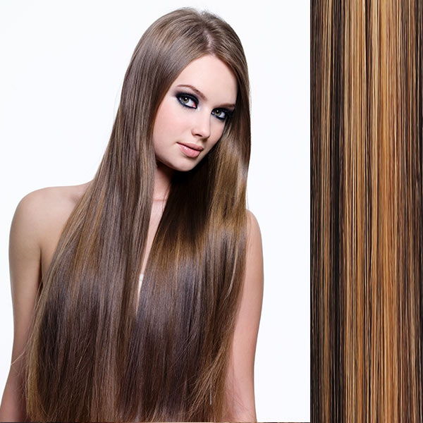 Clip in vlasy - sada DE-LUXE, 57 cm, odstín - F4/27 (melír čokoládově hnědé v karamelové)