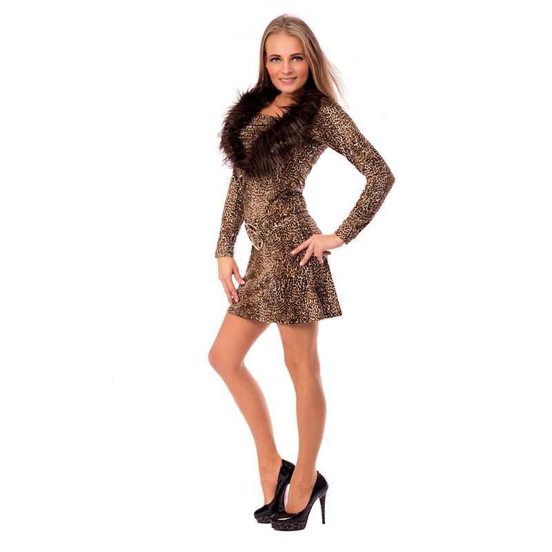 Šaty se zvířecím motivem a kožešinkou ANIMAL