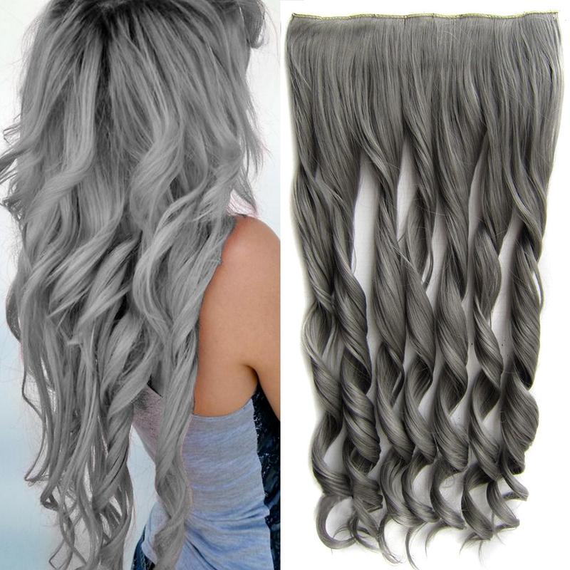 Světové zboží Clip in pás vlasů - lokny 55 cm - odstín Dim Grey