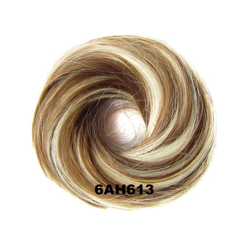 Příčesek - drdol na gumičce střapatý - 6AH613 (melír nugátově hnědé v beach blond)
