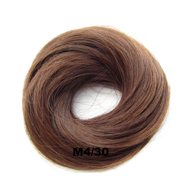 Světové zboží Příčesek - drdol na gumičce střapatý - M 4/30 (mix čokoládově hnědá/světlý kaštan)
