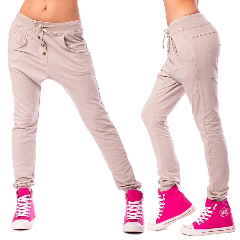 Dámské harémové kalhoty - béžové - velikost L XL