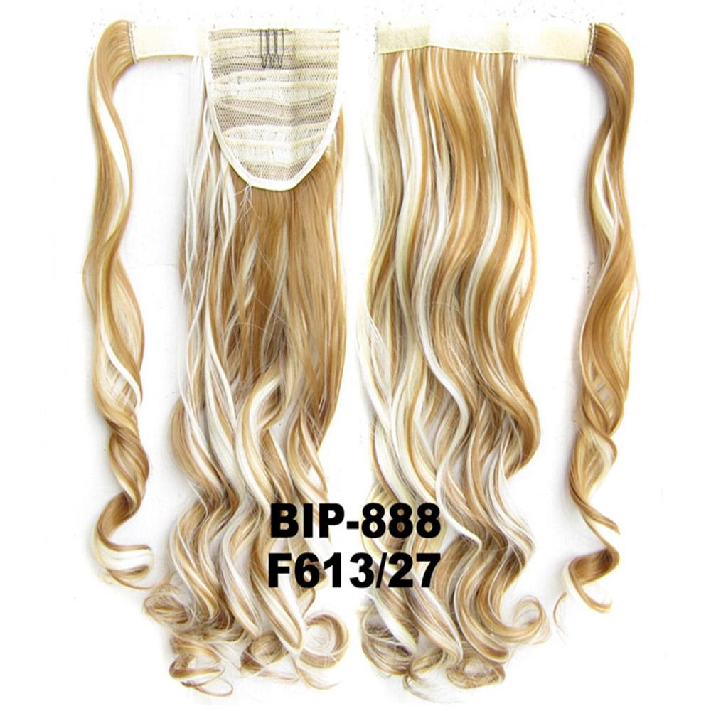 Culík - cop vlnitý, 57 cm se suchým zipem a omotávkou - F613/27 (melír beach blond v karamelové)