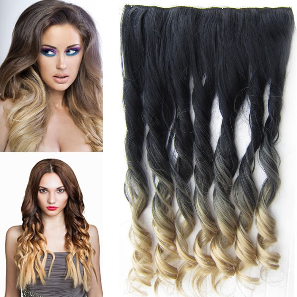 Clip in pás vlasů - lokny 55 cm - ombre - odstín Black T 24