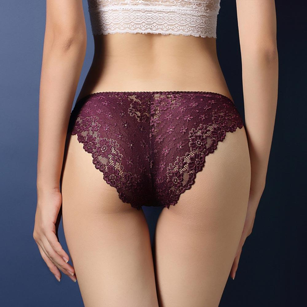 V&V Dámské krajkové kalhotky - Calcinha - fialová barva