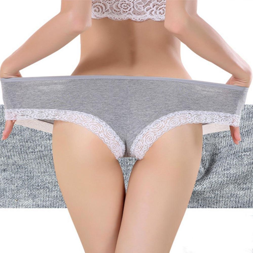 ... Dámská móda a doplňky - Dámské bavlněné kalhotky s krajkou - šedé ... 37af5be9fb
