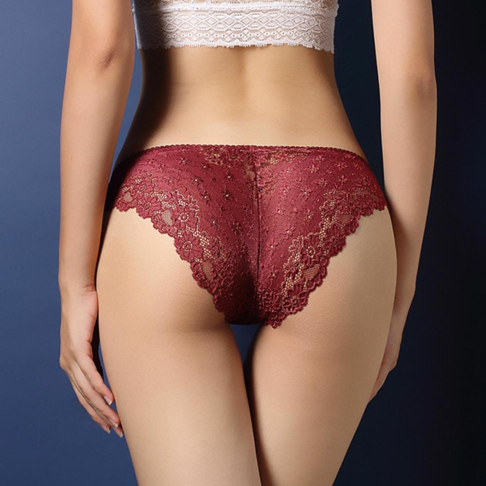 V&V Dámské krajkové kalhotky - Calcinha - vínová barva