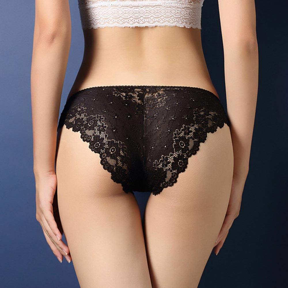 V&V Dámské krajkové kalhotky - Calcinha - černá barva