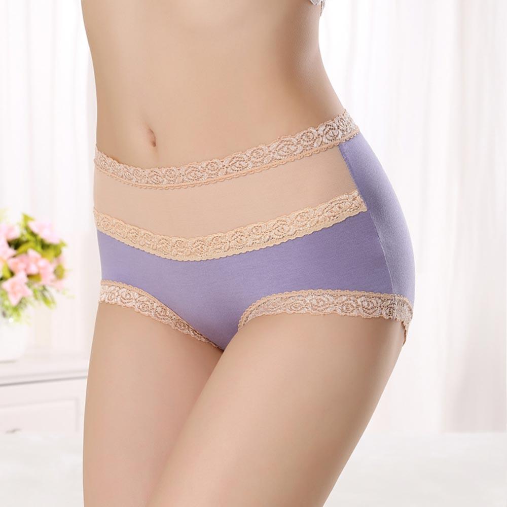 V&V Dámské bavlněné kalhotky s vysokým pasem - světle fialová barva