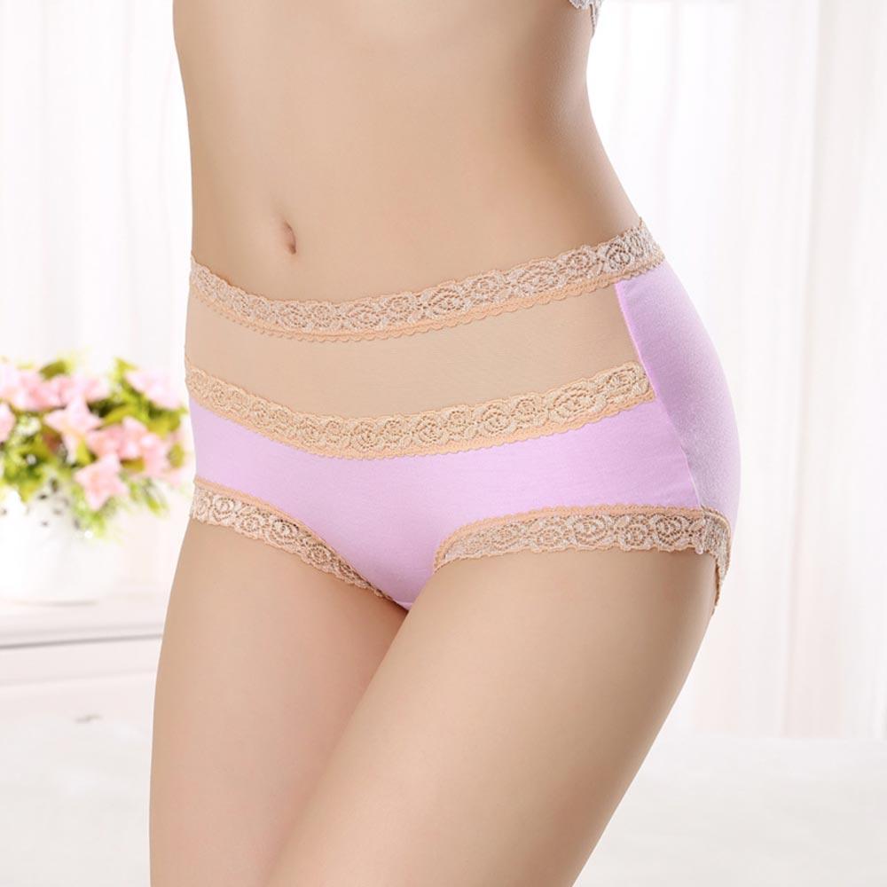 V&V Dámské bavlněné kalhotky s vysokým pasem - světle růžová barva