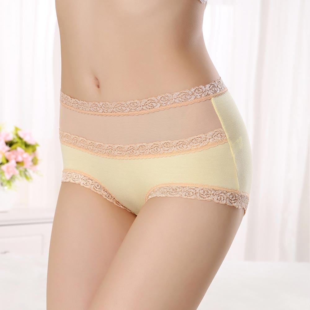 V&V Dámské bavlněné kalhotky s vysokým pasem - žlutá barva