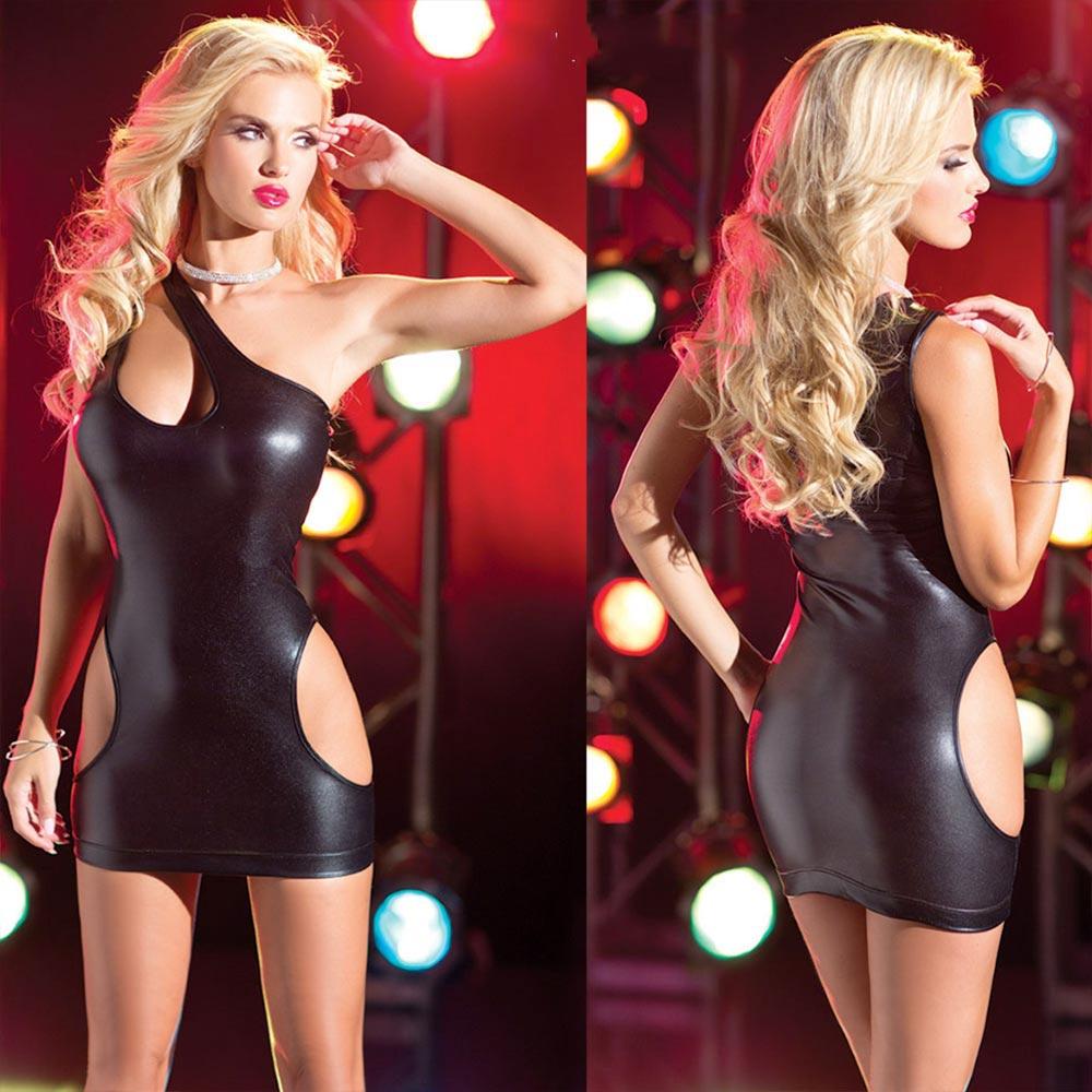 V&V Dámské Go Go párty šaty - imitace lesklé kůže - černá barva