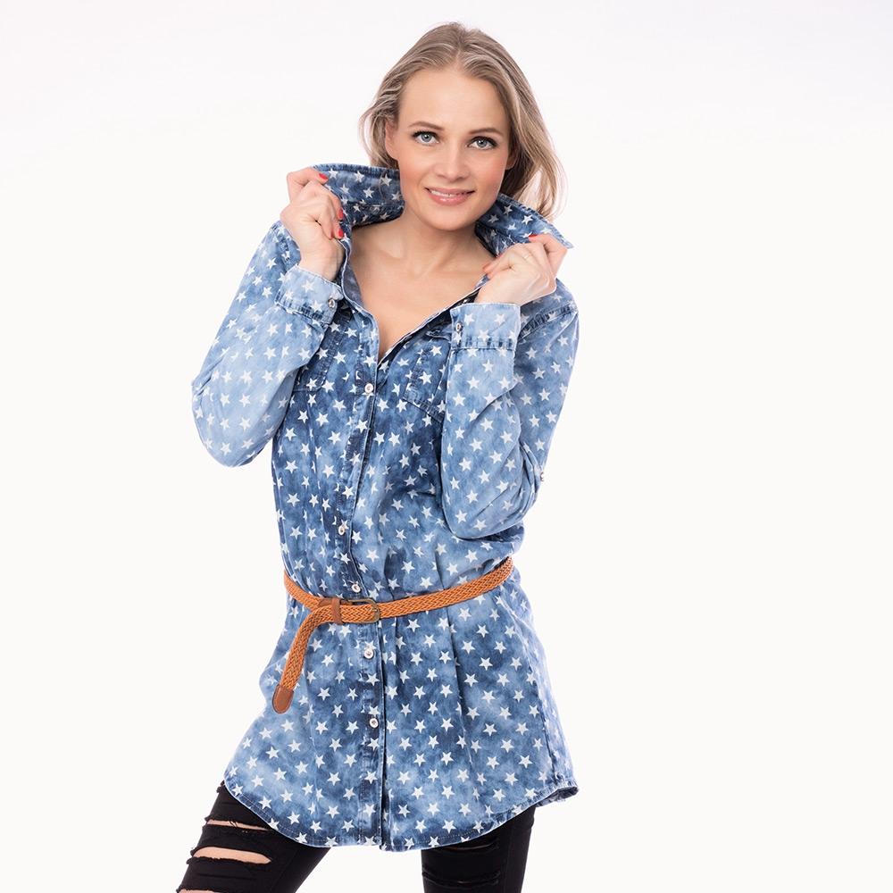 Dámská móda a doplňky - Dámská jeans košile s páskem - Blue stars ... a08be56e06