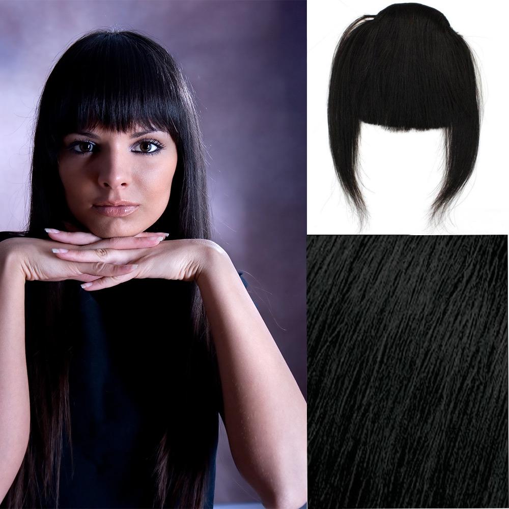 Světové Zboží Clip in ofina – REMY 100% lidské vlasy - odstín 1B - černá - 1B (černá)