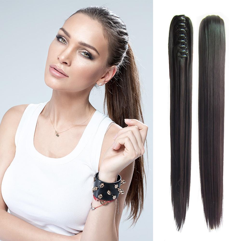 V&V Cop - culík rovný k prodloužení vlasů 55 cm na skřipci - 2 (tmavě hnědá pralinka)