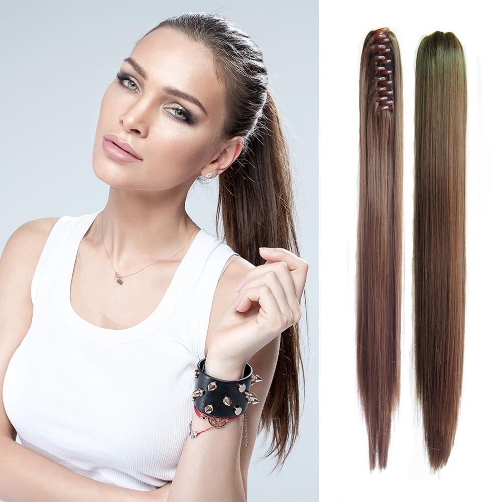 V&V Cop - culík rovný k prodloužení vlasů 55 cm na skřipci - M2/30 (mix tmavá pralinka/světlý kaštan)