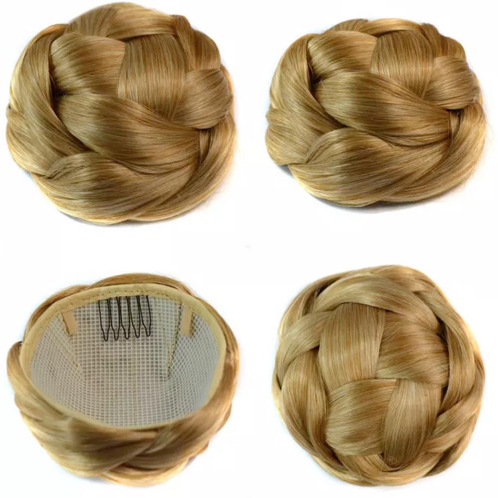 Příčesek - luxusní proplétaný drdol k nasazení - 16/613 (mix blond)