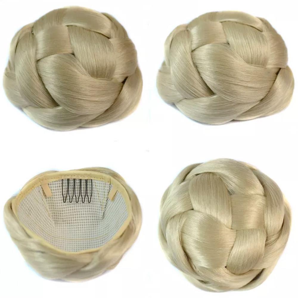 Příčesek - luxusní proplétaný drdol k nasazení - 88 (platinová blond)