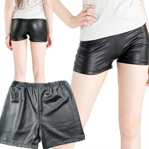 Dámské šortky - lesklá, černá kůže