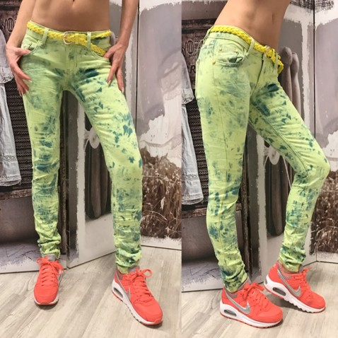 Dámské neon jeans - zelené