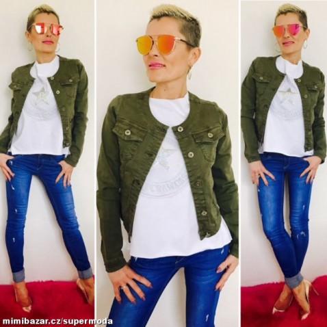 Dámská krátká jeans bundička khaki zelená