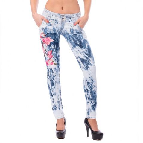 Dámské jeans s aplikací Flower