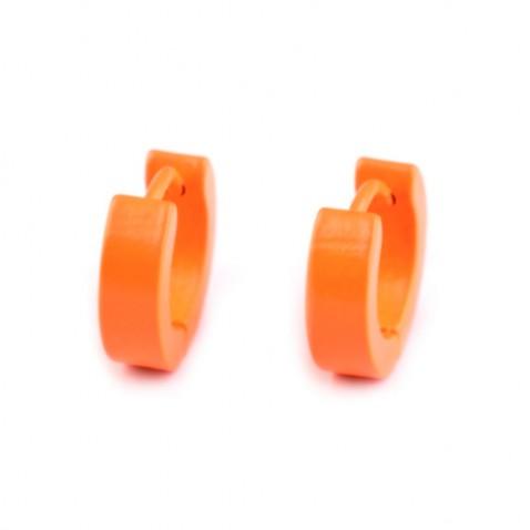 Náušnice z nerezové oceli - Neon- oranžové