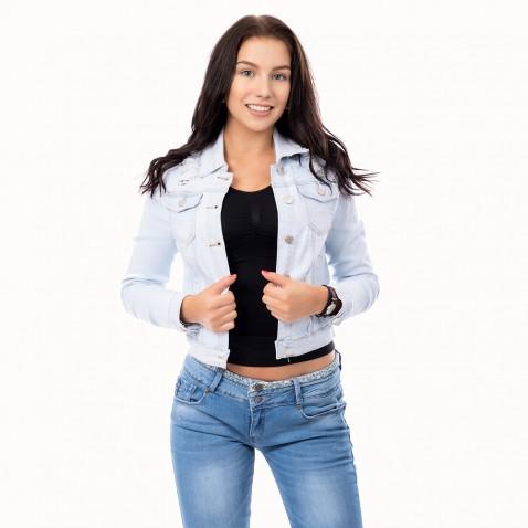 Dámská světle modrá jeans bunda s krajkou