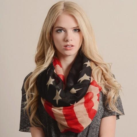 Šátek - šála - retro americká vlajka