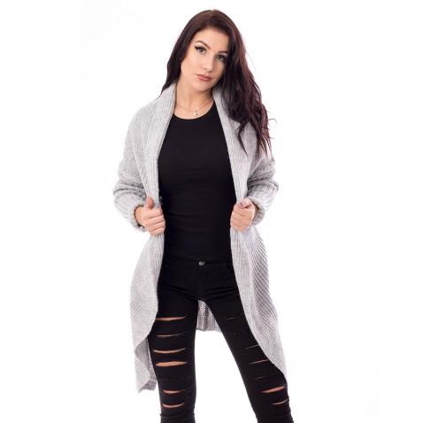 Dámský dlouhý pulovr- šedý