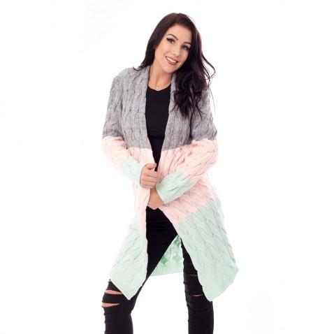 Dámský dlouhý pulovr - pastelové pruhy