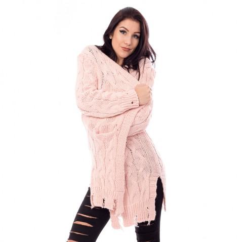 Dámský dlouhý růžový pulovr s trháním